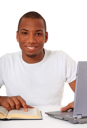 dark skinned: Attractive black student. All on white background.