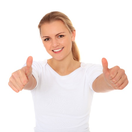 Woman showing thumbs up. All on white background.