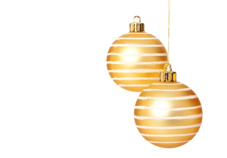 christmasy: Two brilliant christmas tree ball ornaments. Isolated on white background.
