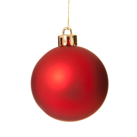 christmasy: One single red christmas tree ball ornament. Isolated on white background.