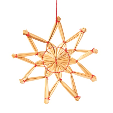 christmasy: Single star made of straw. Isolated on white background.