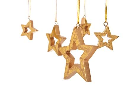 Diverse decoratieve opknoping sterren. Geà ¯ soleerd op witte achtergrond.