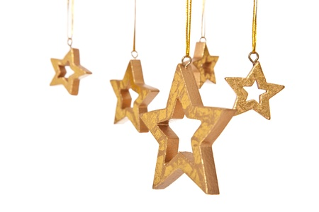 five stars: Several decorative hanging stars. Isolated on white background.