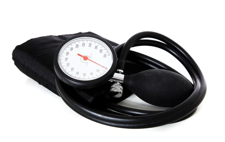 A single sphygmomanometer, isolated on white background. photo