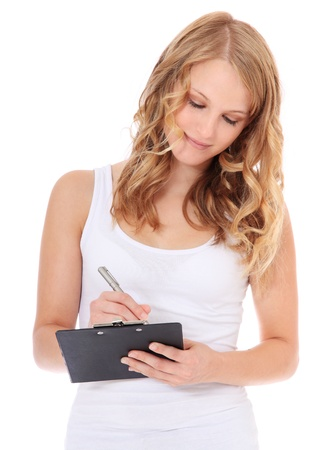 e survey: Attractive teenage girl doing a survey. All on white background.  Stock Photo