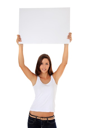 express positivity: Attractive young woman holding blank white sign. All on white background.