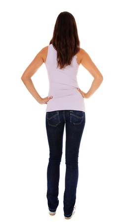 Back view of an attractive young woman. All on white background.