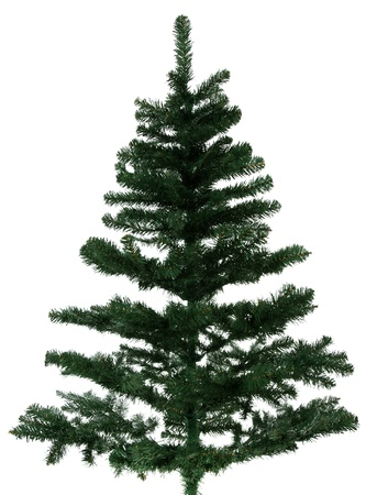 winterly: Standard christmas tree. Isolated on white background.