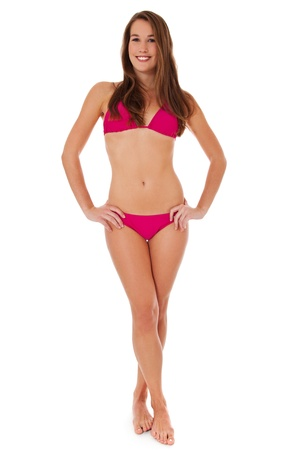 Attractive woman in bikini. Isolated on white background. Stock Photo