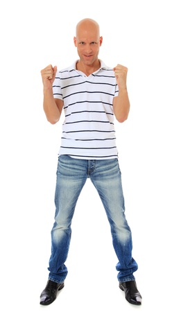 jubilating: Full length shot of an attractive middle age man jubilating. All on white background.  Stock Photo