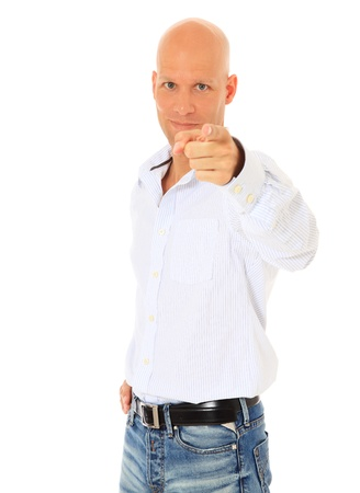 Attractive middle age man pointing with finger. All on white background.  photo