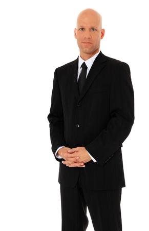 calvicie: Hombre de negocios atractivo. Todos en el fondo blanco. Foto de archivo