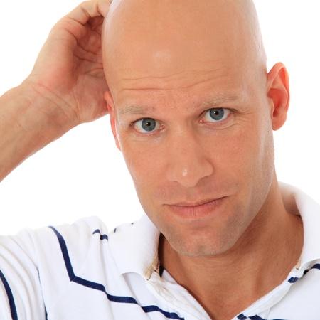 calvitie: Uncertain homme d'�ge moyen. Le tout sur fond blanc. Banque d'images