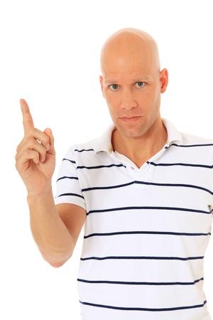 admonester: Homme s�duisant exhortant levant son doigt. Tout sur fond blanc. Banque d'images