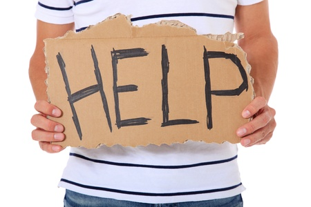 helpfulness: Male person holding cardboard sign with the term help. All on white background.