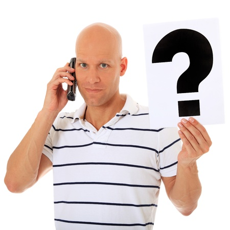 got: Attractive man got a question while talking to a service hotline. All on white background.