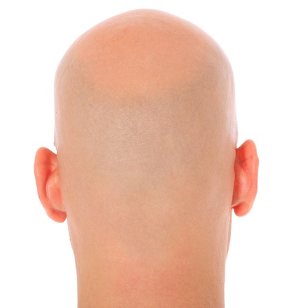 occiput: Back of the head of a bald man. All on white background.  Stock Photo