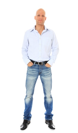 hairless: Full length shot of a confident middle age man. All on white background.