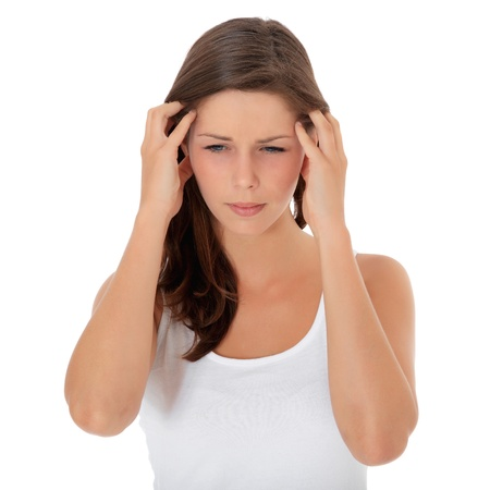 suffers: Attractive girl suffers from headache. All on white background.