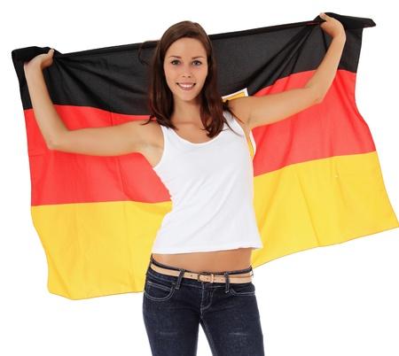bandera alemania: Mujer joven atractiva animando. Todos en el fondo blanco. Foto de archivo