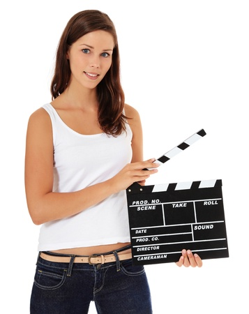 film director: Attractive young woman using slate. All on white background.