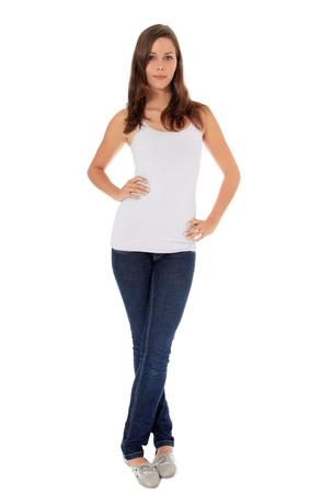 cuerpo entero: Tiro de larga duración de una mujer joven y atractiva. Todos en el fondo blanco. Foto de archivo
