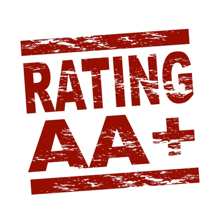 Stylized red stamp showing the term Rating AA+. All on white background. Stock Photo - 12052535