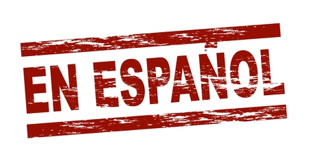 en: Stylized red stamp showing the term en espanol. All on white background.  Stock Photo
