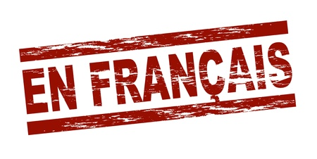 francais: Stylized red stamp showing the term en francais. All on white background.