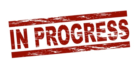 Stylized red stamp showing the term in progress. All on white background. Stock Photo - 12052542