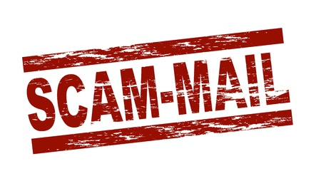term: Stylized red stamp showing the term scam-mail. All on white background.