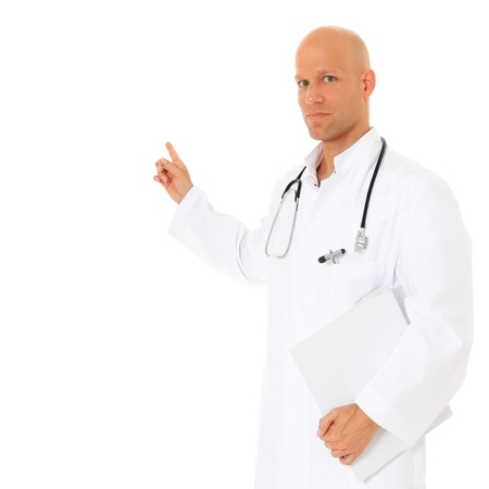 Competent doctor pointing to the side. All on white background.  Stock Photo - 12052529