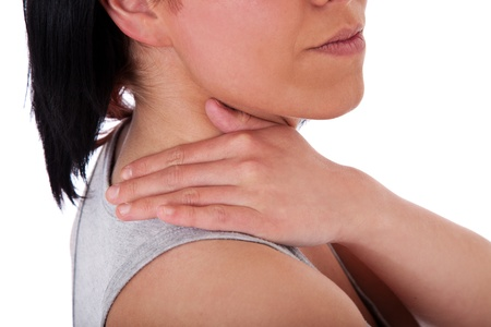 suffers: Young woman suffers from neck pain. All on white background.