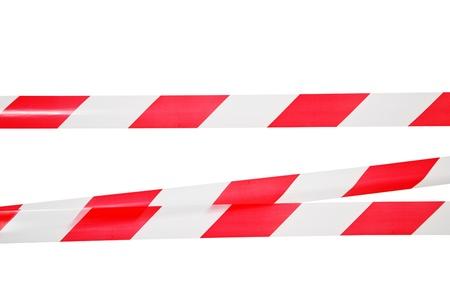 Lijnen van afzetlint Alle op een witte achtergrond Stockfoto