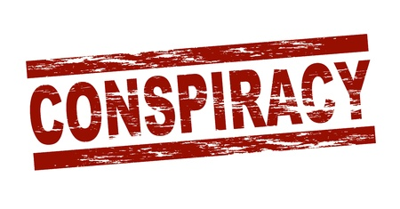 Stylized red stamp showing the term conspiracy  All on white background   Stock Photo - 12859944