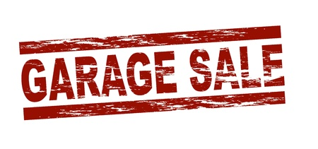Stylized red stamp showing the term garage sale  All on white background
