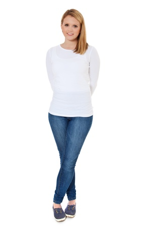 shy woman: Full length shot of an attractive teenage girl  All on white background