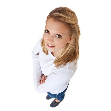 attractive charismatic: Attractive teenage girl  High angle view  All on white background  Stock Photo