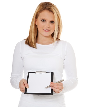 poll: Attractive teenage girl doing signature campaign  All on white background   Stock Photo