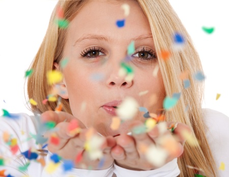 attractive charismatic: Attractive teenage girl having fun with confetti  All on white background