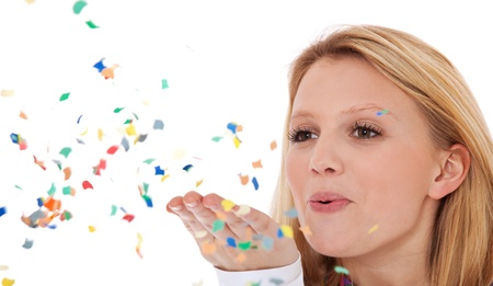 Attractive teenage girl having fun with confetti  All on white background 免版税图像 - 12859968