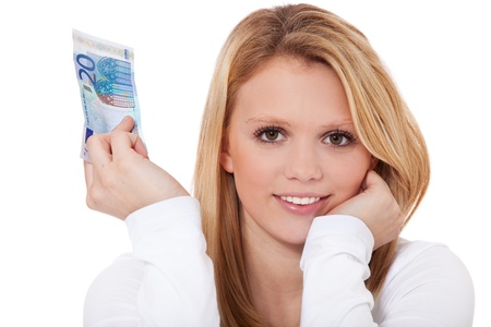 20 euro: Attractive teenage girl holding 20 euro banknote  All on white background