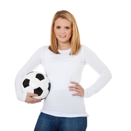 scandinavian descent: Attractive teenage girl with soccer ball  All on white background  Stock Photo