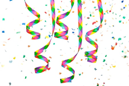 Colorful paper streamer and confetti  All on white background