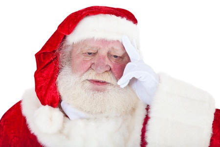 kris kringle: Stressed Santa Claus in authentic look  All on white background   Stock Photo