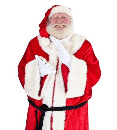 acclamation: Santa Claus in authentic look clapping hands  All on white background