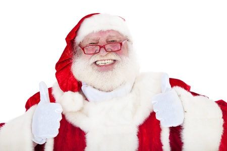 Santa Claus in authentic look showing thumbs up  All on white background   Stock Photo - 13557633