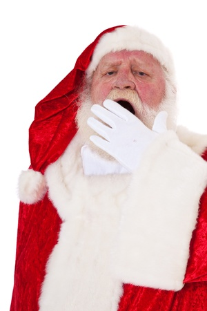 Tired Santa Claus in authentic look  All on white background   photo
