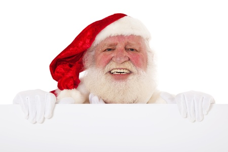 kris kringle: Santa Claus in authentic look behind white sign  All on white background   Stock Photo