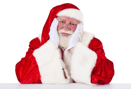 Tired Santa Claus in authentic look  All on white background